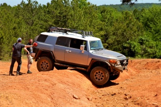 A High Centered FJ Cruiser. It was easily pushed off the hump and did very well for the rest of the trails.